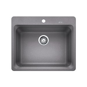 BLANCO Vision 25-in x 21-in Metallic Gray 1 Composite Drop-in 1-Hole Residential Kitchen Sink