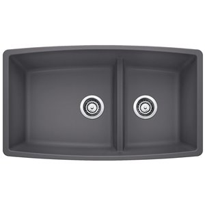 BLANCO Performa 33-in x 19-in Cinder 2 Composite Undermount (Customizable)-Hole Residential Kitchen Sink