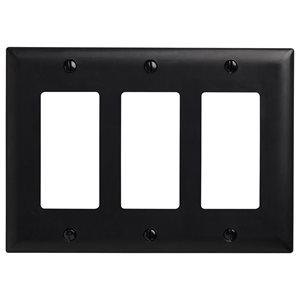 Legrand Trademaster 3-Gang Toggle Wall Plate (Black)