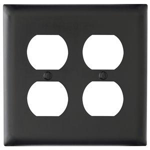 Legrand Trademaster 2-Gang Round Wall Plate (Black)
