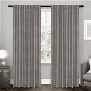 Design Decor 96-in Black Pearl Polyester Grommet Blackout Thermal Lined Single Curtain Panel
