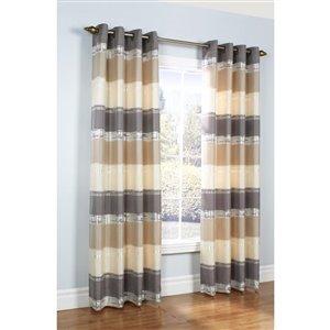 Legacy Mist Stripe Grommet Window Curtain 52 x 95, Colour Taupe