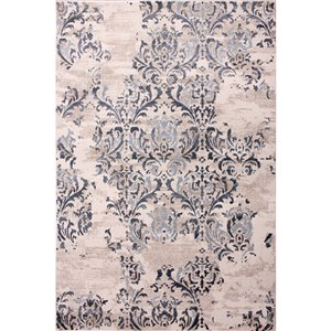 Carpet Art Deco 5-ft x 8-ft Majestic Cream Rectangular Indoor Area Rug
