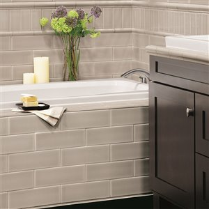 Allen Roth Pearl Ceramic Wall Subway Tile Common 4 In