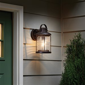 allen + roth Stonecroft 13-in H Rust Outdoor Wall Light