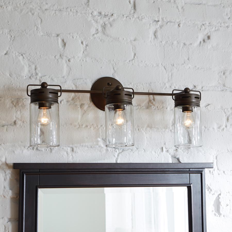 lowest price 281d0 15f5b allen + roth 3-Light Vallymede Aged Bronze Standard Bathroom Vanity Light