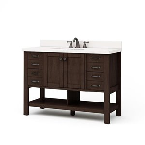 allen + roth Kingscote 48-in Single Sink Espresso Bathroom Vanity With Engineered Stone Top