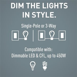 Legrand Radiant 450-Watt Single Pole 3-Way White/Light Almond/Ivory Indoor Rocker Dimmer