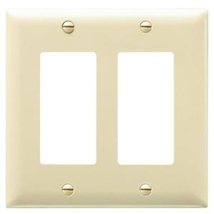 2-Gang Ivory Double Midsize Wall Plate