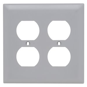 Legrand Trademaster 2-Gang Duplex Receptacle Wall Plate (Grey)