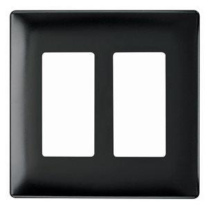 Legrand radiant 2-Gang Decorator Rocker Wall Plate (Black)