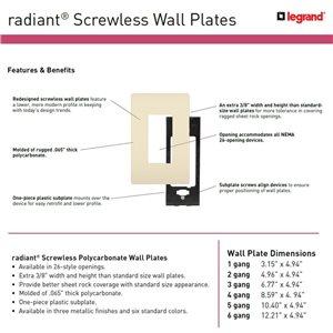 Legrand radiant 1-Gang Decorator Rocker Wall Plate (White)