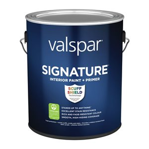 Valspar 3.66L Sub-Brand Ultra White/Base A Eggshell Latex Interior Paint and Primer In One Paint