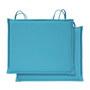 2-Pack 17-in Aqua Polyester Bistro Chair Cushion