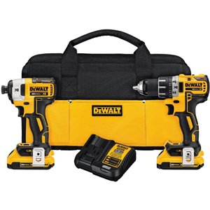 DEWALT 20-Volt Max 2-Tool Brushless Power Tool Combo Kit with Soft Case (2-Batteries Included and Charger Included)