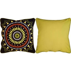 allen + roth 18-in Reversible Medallion Cotton Outdoor Toss Pillow