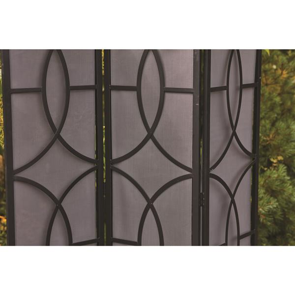 72 in x 59 in black steel outdoor privacy screen