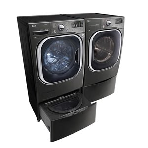 LG 5.2-cu ft High Efficiency Stackable Front-Load Washer (Black Stainless Steel) ENERGY STAR