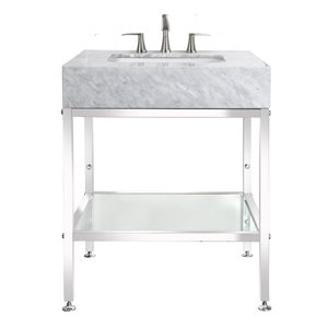 BanoDesign Abigail Collection 30-in Single Sink Carerra Marble Top And A Stainless Steel Bathroom Vanity With Natural Marble Top
