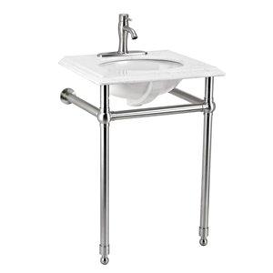 Moorefield Arlington 24-in Single Sink Brushed Nickel Bathroom Vanity With Engineered Stone Top