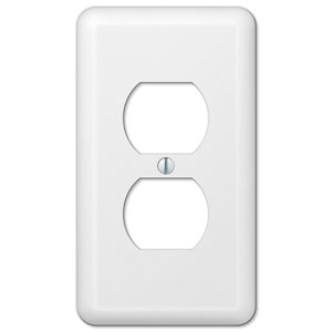 Amerelle Devon 1-Gang Duplex Receptacle Wall Plate (White)