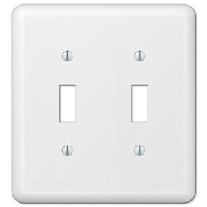 Amerelle Devon 2-Gang Toggle Wall Plate (White)