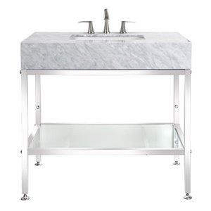 BanoDesign Abigail Collection 36-in Single Sink Carerra Marble Top And A Stainless Steel Bathroom Vanity With Natural Marble Top