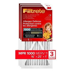 3M 16-in x 25-in x 1-in Allergen Defense Micro Allergen Air Filter (3-Pack)
