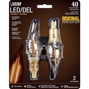 Feit Electric 40-Watt/210 Lumens Candelabra Base (E-12) Dimmable Candle LED Light Bulb (2-Pack)