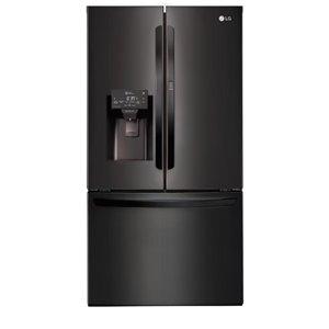LG 27.7-cu ft 3-Door Standard-Depth French Door Refrigerator with Single Ice Makerand Door within Door (Fingerprint-Resistant Matte Black Stainless Steel) ENERGY STAR