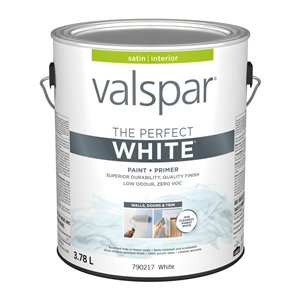 Valspar Perfect White Satin Latex Interior Paint and Primer In One Paint (Actual Net Contents: 128-fl oz)