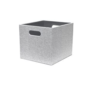 Herringbone Gray Large Fabric Storage Bin