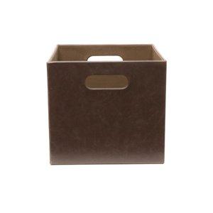 Vintage Dark Brown Large Faux Leather Storage Bin