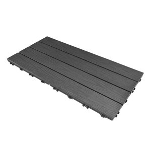 Leadvision ELEGANCE PLUS 12-in x 24-in ft Grey Composite Deck Tile