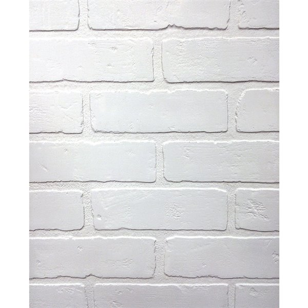 48 In X 8 Ft Embossed Paintable Brick White Wall Panel Lowe S Canada