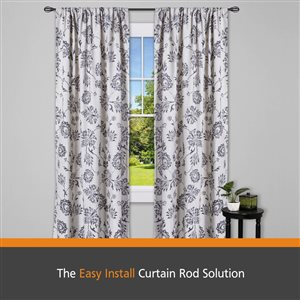 Kenney Fast Fit� 5/8 In. Lilly Cage Easy Install Decorative Window Curtain Rod, 36-66 In., Black