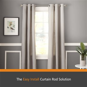 Kenney Fast Fit� 5/8 In. Milton Easy Install Decorative Window Curtain Rod, 36-66 In., Pewter