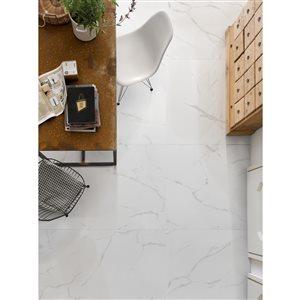 Faber 24x24 Polished Carrara White Porcelain Floor & Wall Tile