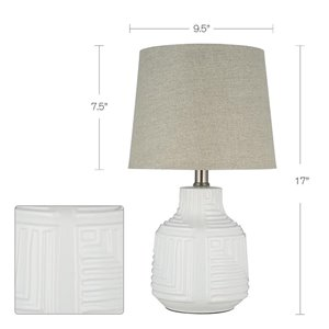 Catalina 18 In. White Ceramic Lamp