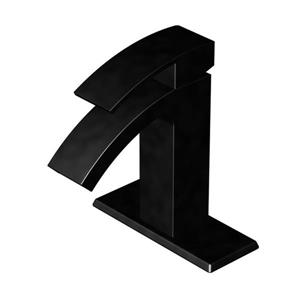 AquaSource AMARI Matte Black 1-Handle Single Hole 4-in Centerset WaterSense Bathroom Sink Faucet with Drain (Valve Included)