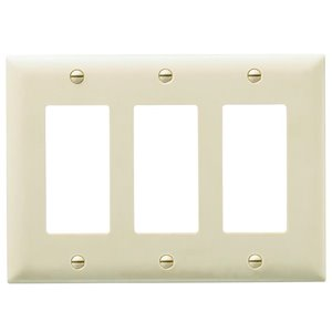Legrand Trademaster 3-Gang Decorator Rocker Wall Plate (Ivory)