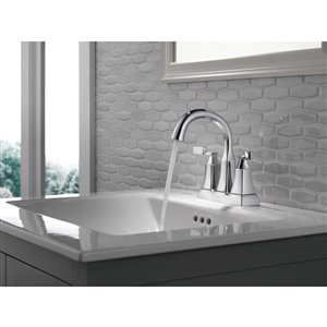 DELTA Sawyer Chrome 2-Handle 4-in Centerset WaterSense Bathroom Sink Faucet with Drain (Valve Included)