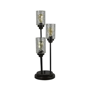 allen + roth Latchbury 30.5-in Bronze Indoor Table Lamp with Glass Shade