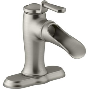 KOHLER Prospect Brushed Nickel 1-Handle Single Hole 4-in Centerset Bathroom Sink Faucet with Drain (Valve Included)