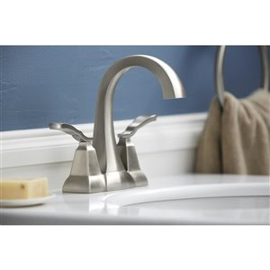 KOHLER Ridgeport Brushed Nickel 1-Handle 4-in Centerset WaterSense Bathroom Sink Faucet with Drain (Valve Included)