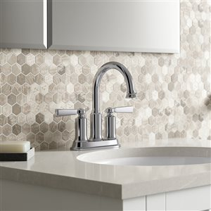KOHLER Aderlee Polished Chrome 2-Handle 4-in Centerset WaterSense Bathroom Sink Faucet with Drain (Valve Included)