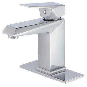 AquaSource Broome Polished Chrome 1-Handle Single Hole 4-in Centerset WaterSense Bathroom Sink Faucet