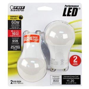 Feit Electric 60-Watt/800 Lumens Gu24 Pin Base Dimmable A19 Specialty Light Bulbs Light Bulb (2-Pack)