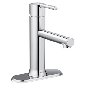 Moen Arlys Chrome 1-Handle Single Hole 4-in Centerset WaterSense Bathroom Sink Faucet with Drain