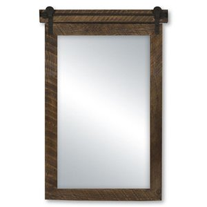 Columbia Frame 22-in x 35-in Vintage Rail Classic Rustic Stain Mirror